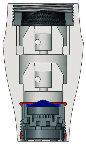 Querschnitt des Wasserwirbler TitanDuo mit zwei Wirbelkammern