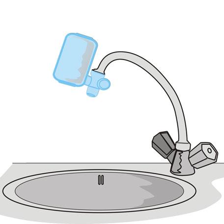 Reisefilter am Wasserhahn