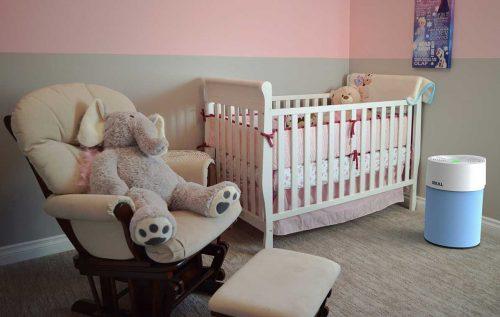 Ideal Luftreiniger AP40 Pro im Kinderzimmer - Textilüberzug Modell hellblau