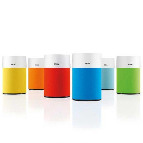 Ideal Luftreiniger AP30 Pro Modelle als Collage mit allen Farben versetzt