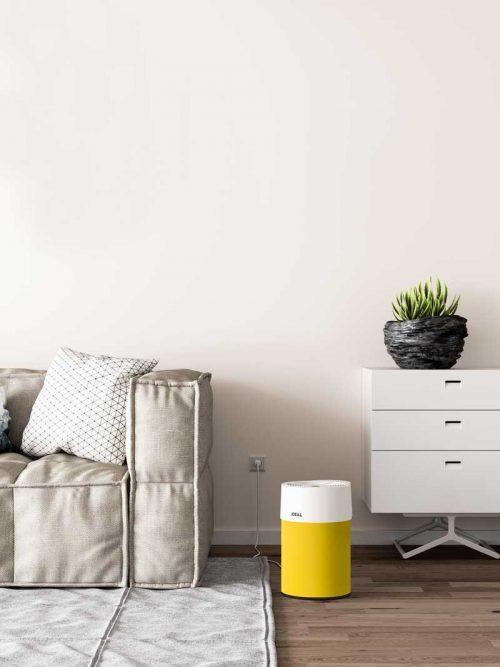 Ideal Luftreiniger AP40 Pro Wohnzimmer mit Textilbezug gelb