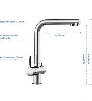 3-Wege-Wasserhahn Atessa aus Edelstahl glänzend mit Eckdaten